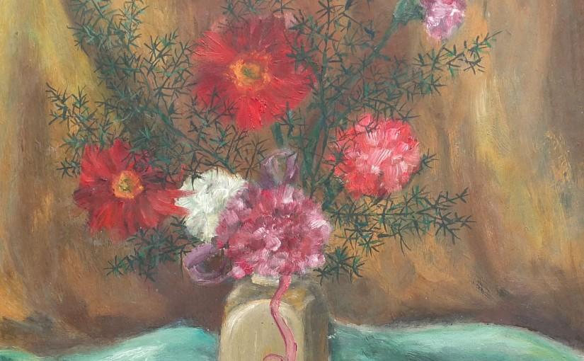 Pierwsze kwiaty malowane farbami olejnymi