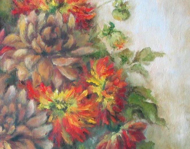 Kwiaty farbmi olejnymi – dobieranie kolorów