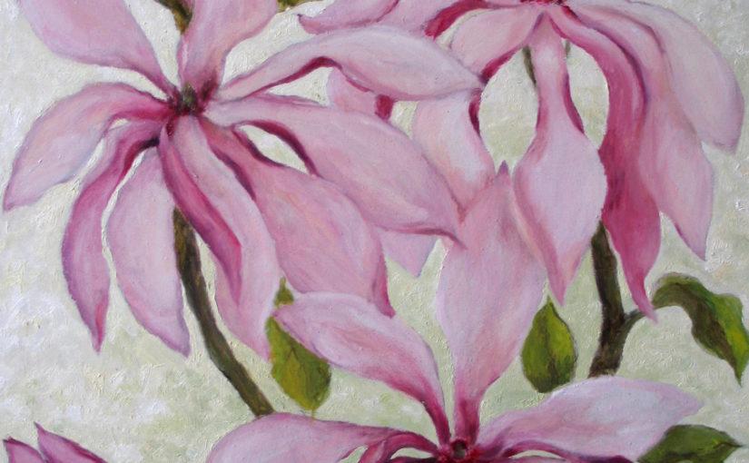 Wiosenne kwiaty farbami olejnymi