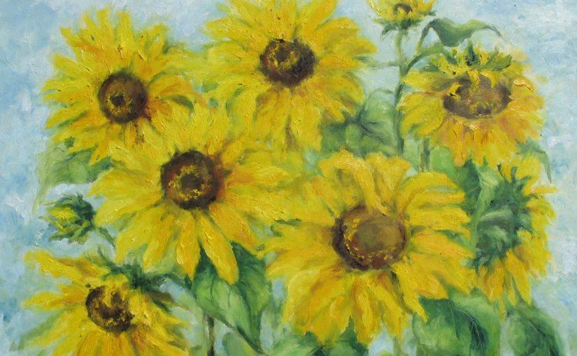 Słoneczniki i dalie na jasnym tle