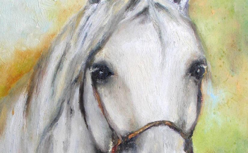 Parę słów o koniach-olej na płycie