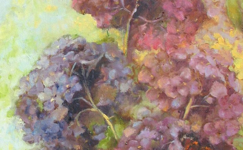 Malowanie kwiatów na płycie i płótnie – tło
