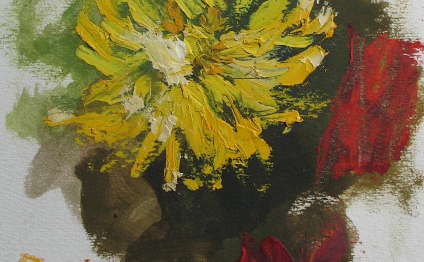 Pierwsze szpachelkowe kwiatki